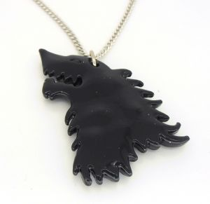 Game of Thrones black Stark Dire wolf pendant